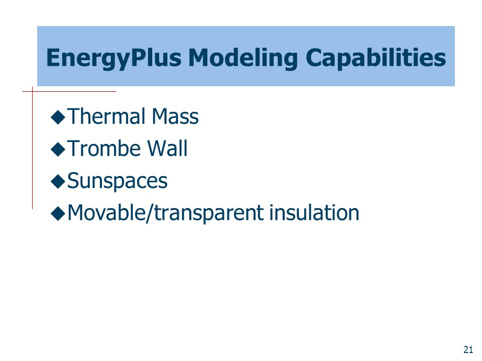 EnergyPlus Modeling Capabilities