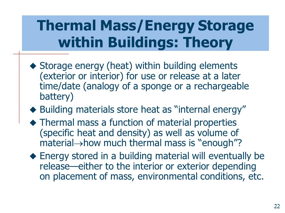 Thermal Mass/Energy Storage within Buildings: Theory