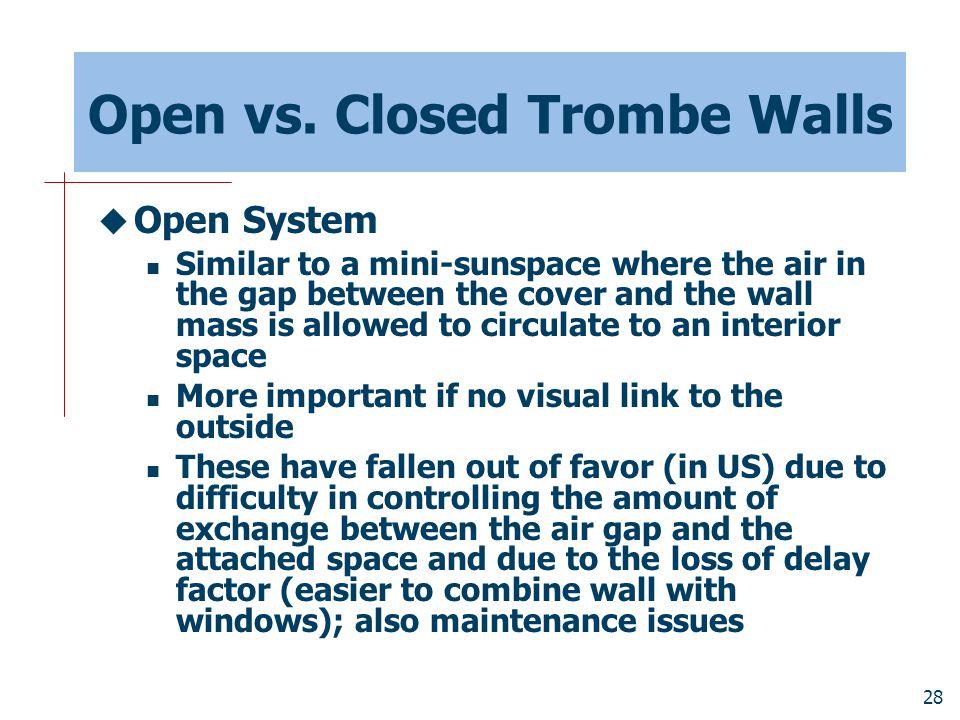 Open vs. Closed Trombe Walls
