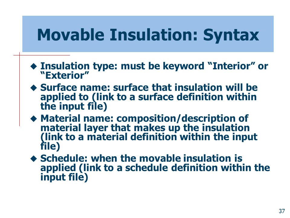 Movable Insulation: Syntax
