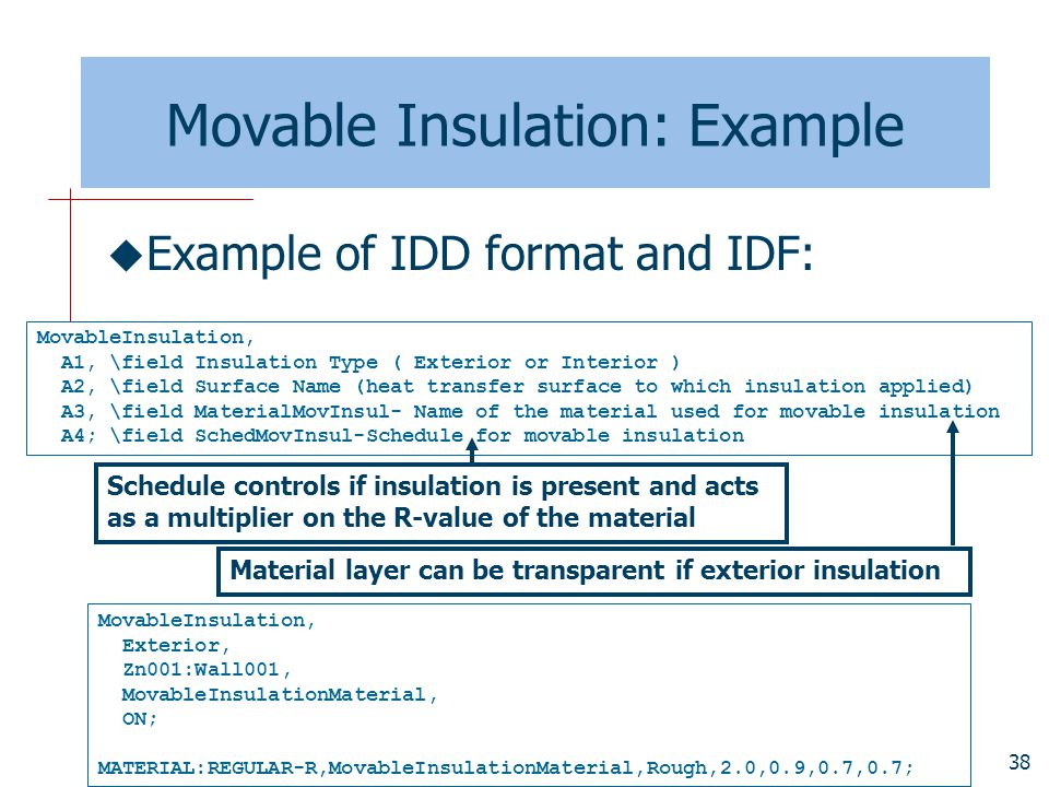 Movable Insulation: Example