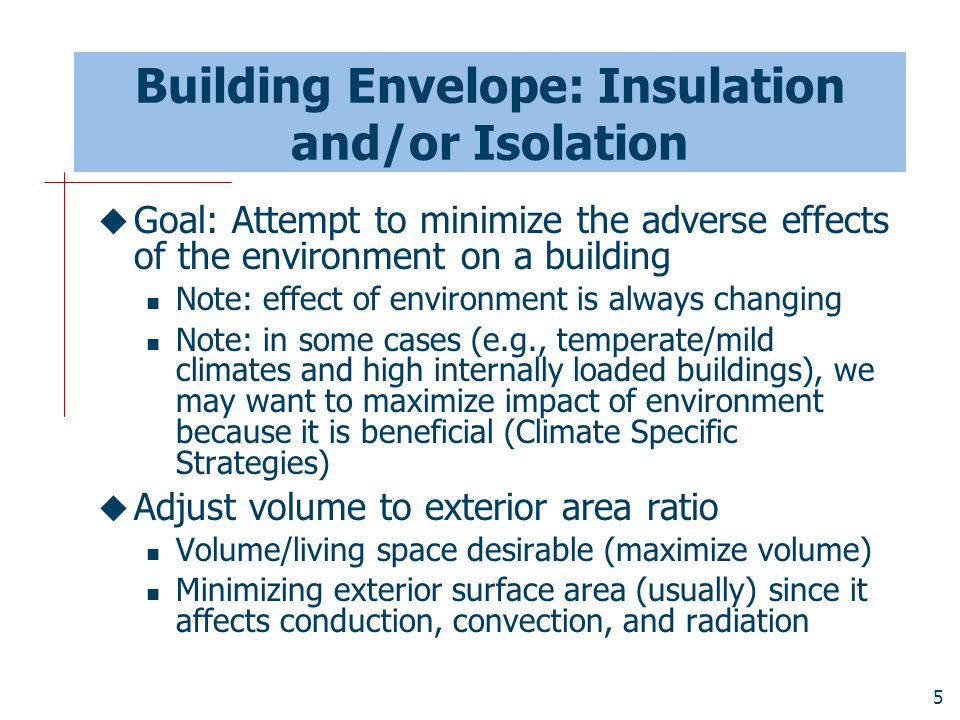 Building Envelope: Insulation and/or Isolation