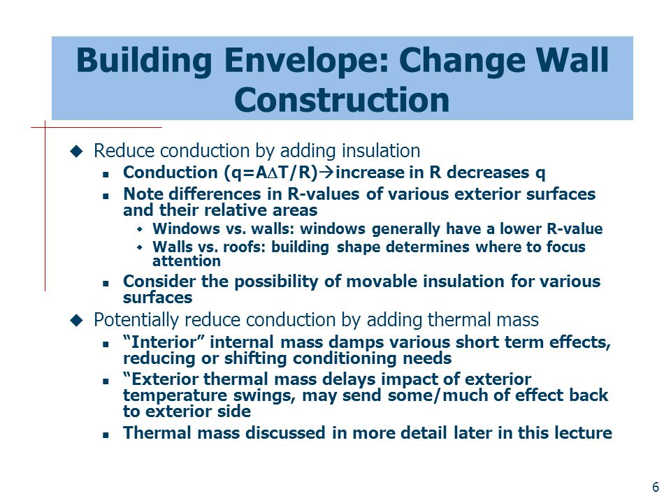 Building Envelope: Change Wall Construction