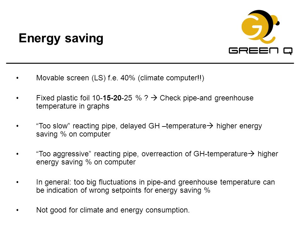 Energy saving Movable screen (LS) f.e. 40% (climate computer!!)