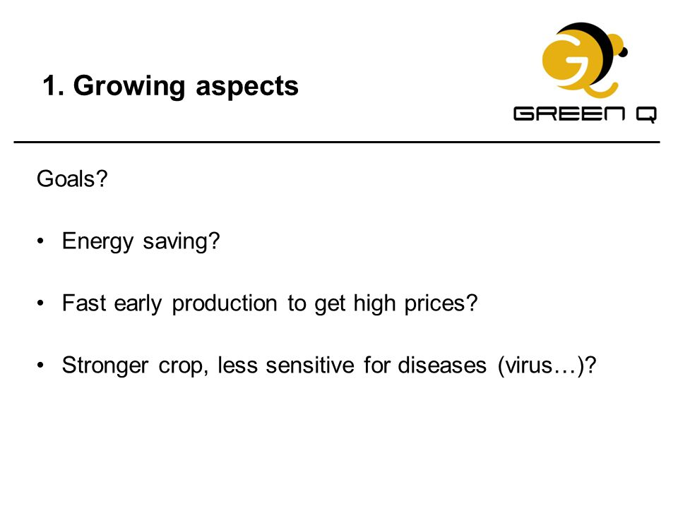 1. Growing aspects Goals Energy saving