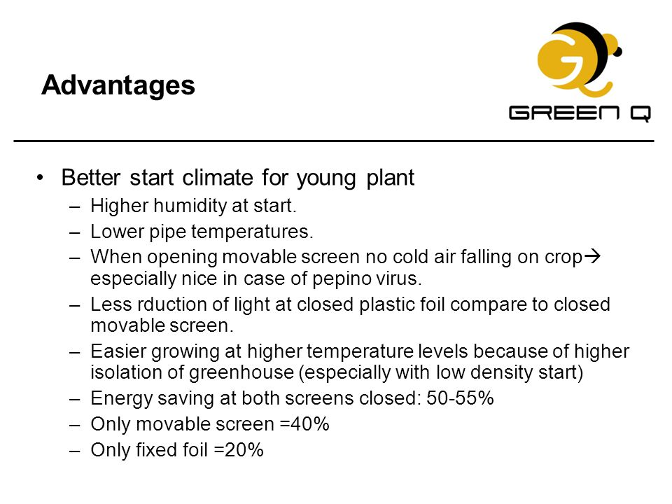 Advantages Better start climate for young plant