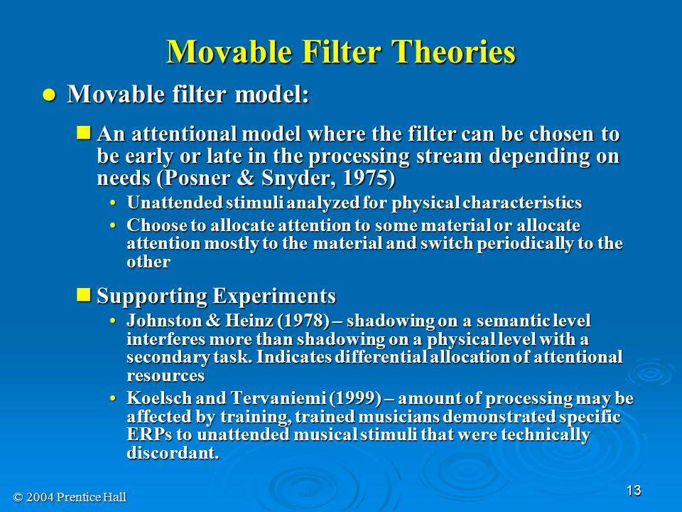 Movable Filter Theories