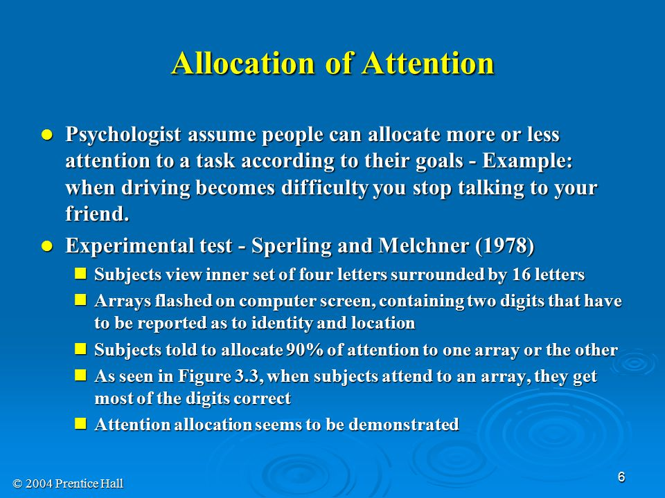 Allocation of Attention