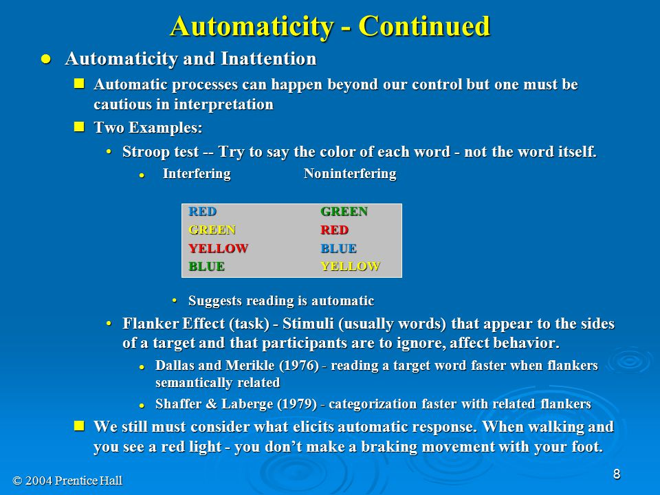Automaticity - Continued