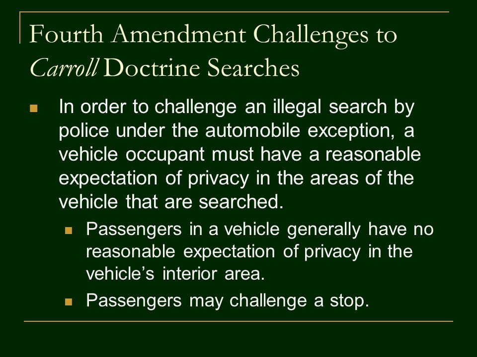 Fourth Amendment Challenges to Carroll Doctrine Searches