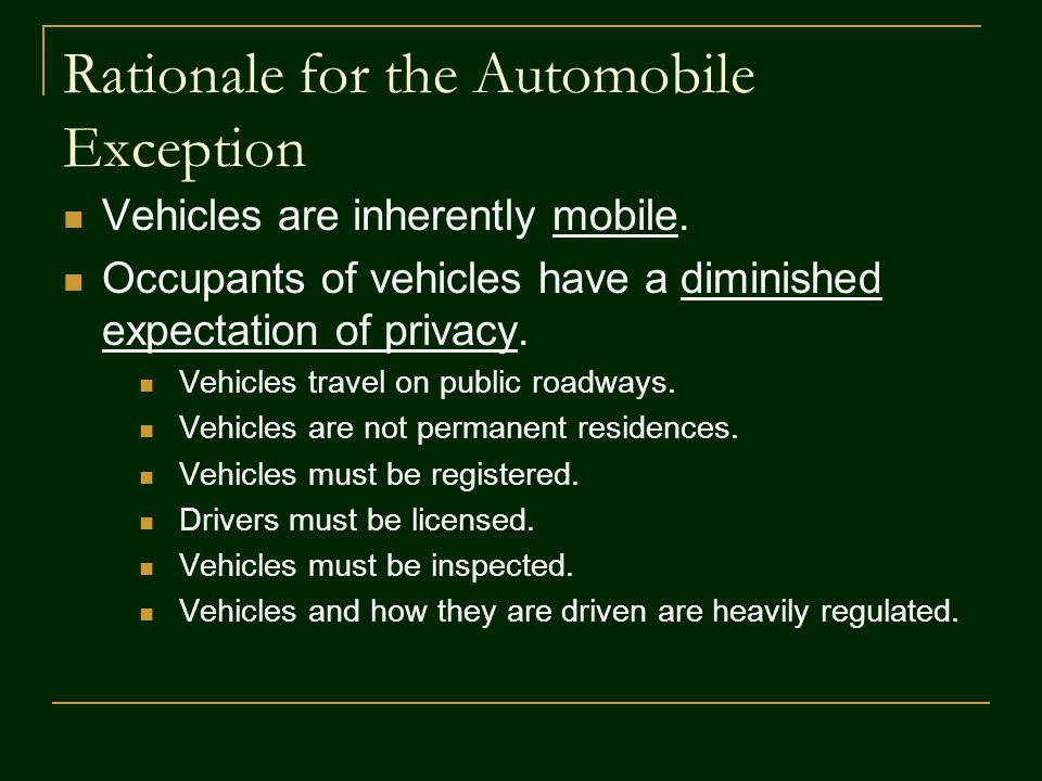 Rationale for the Automobile Exception