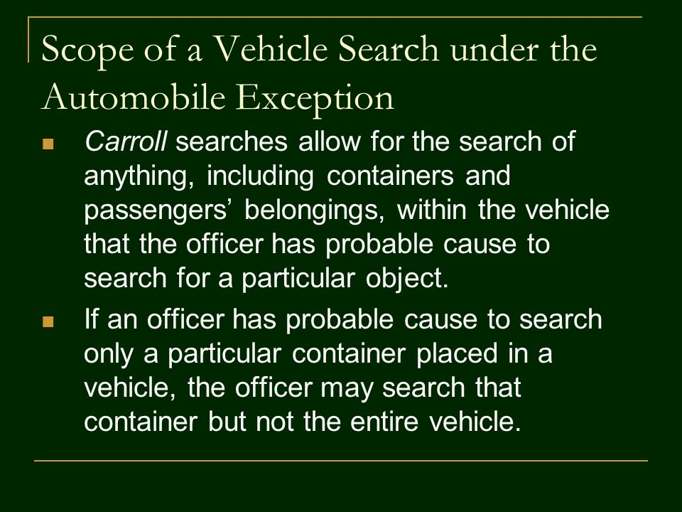 Scope of a Vehicle Search under the Automobile Exception