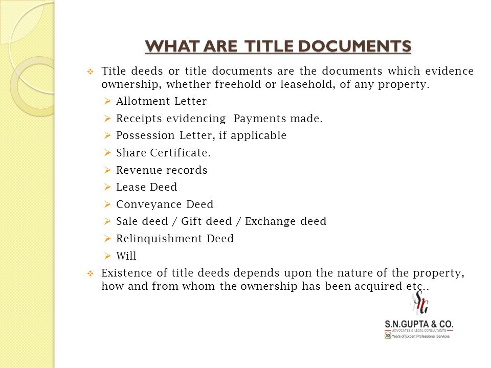 WHAT ARE TITLE DOCUMENTS