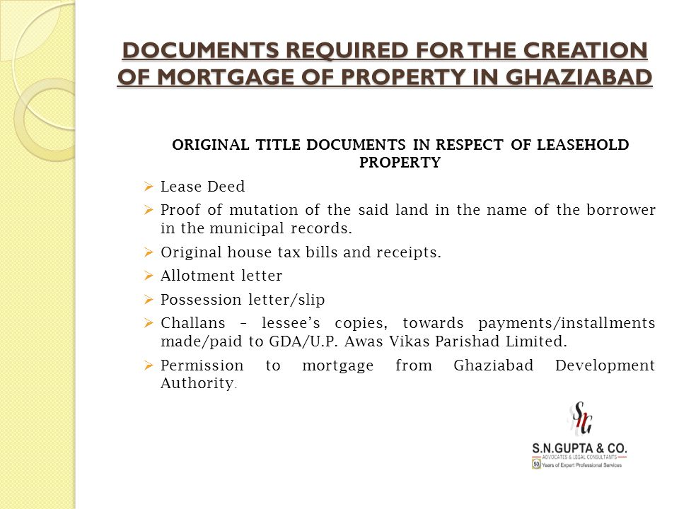 ORIGINAL TITLE DOCUMENTS IN RESPECT OF LEASEHOLD PROPERTY