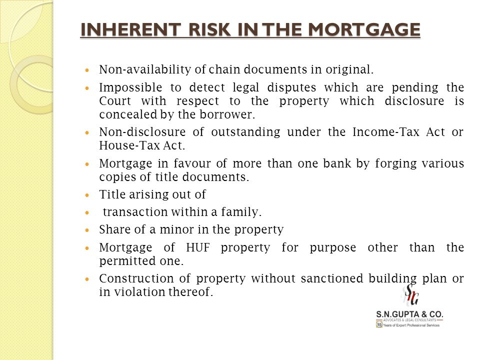 INHERENT RISK IN THE MORTGAGE