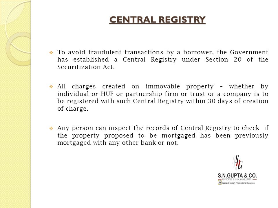 CENTRAL REGISTRY