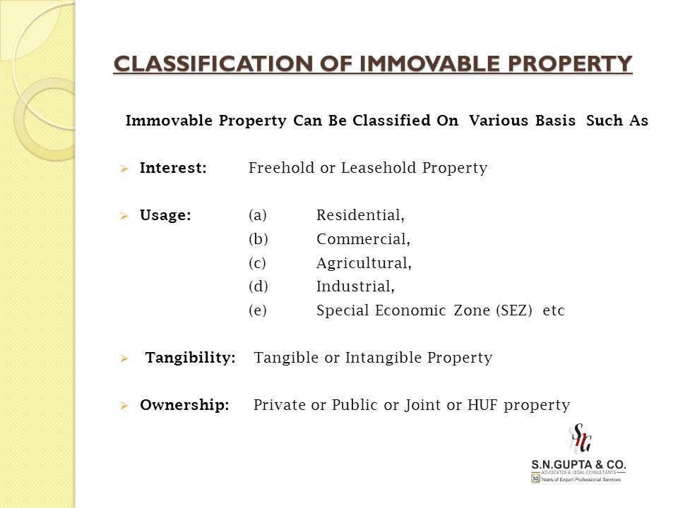 CLASSIFICATION OF IMMOVABLE PROPERTY