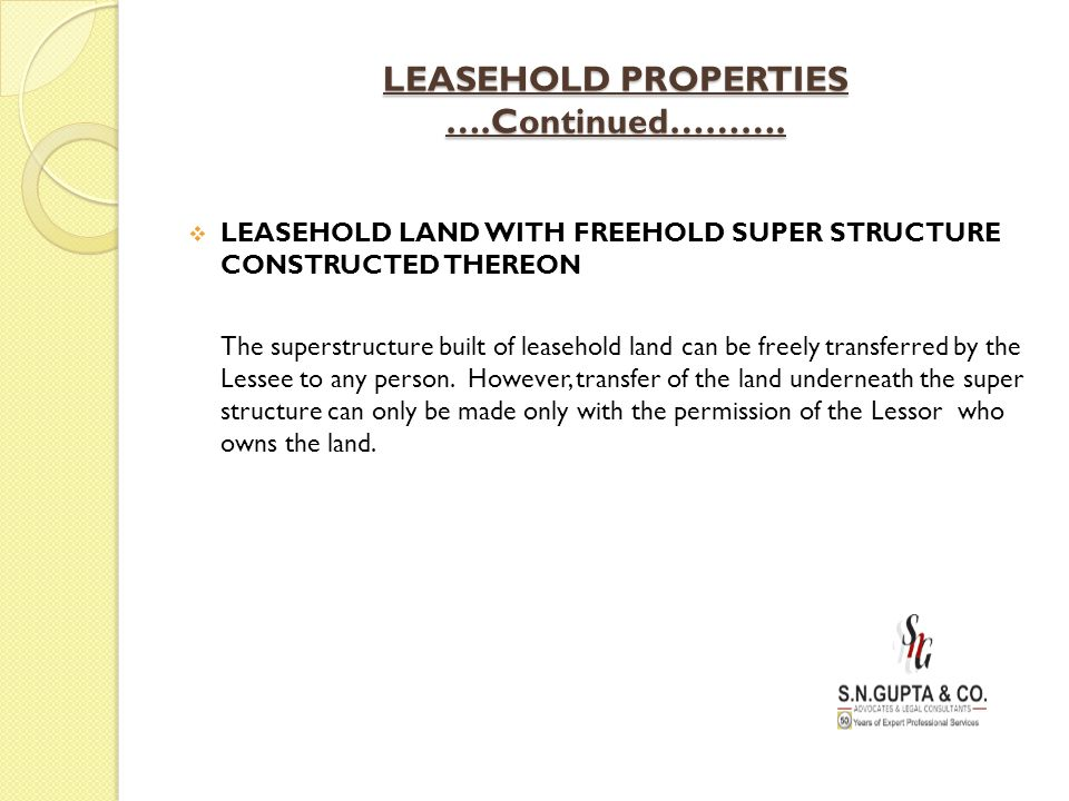 LEASEHOLD PROPERTIES ….Continued……….