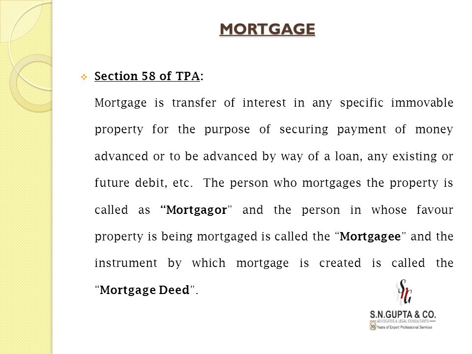 MORTGAGE Section 58 of TPA:
