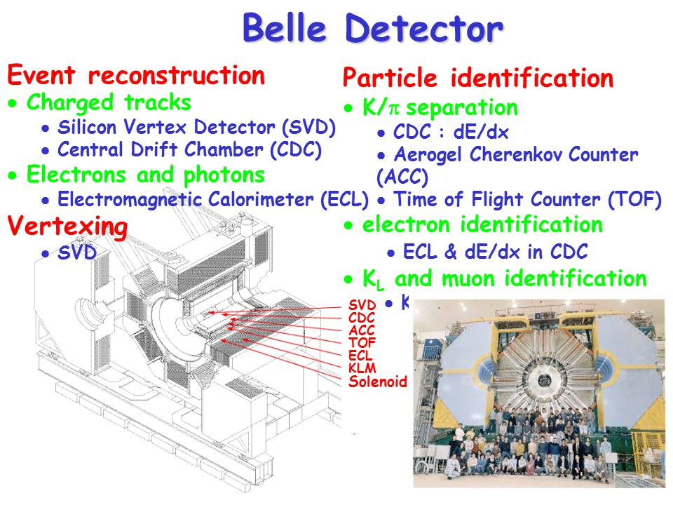 Belle Detector Event reconstruction Particle identification Vertexing