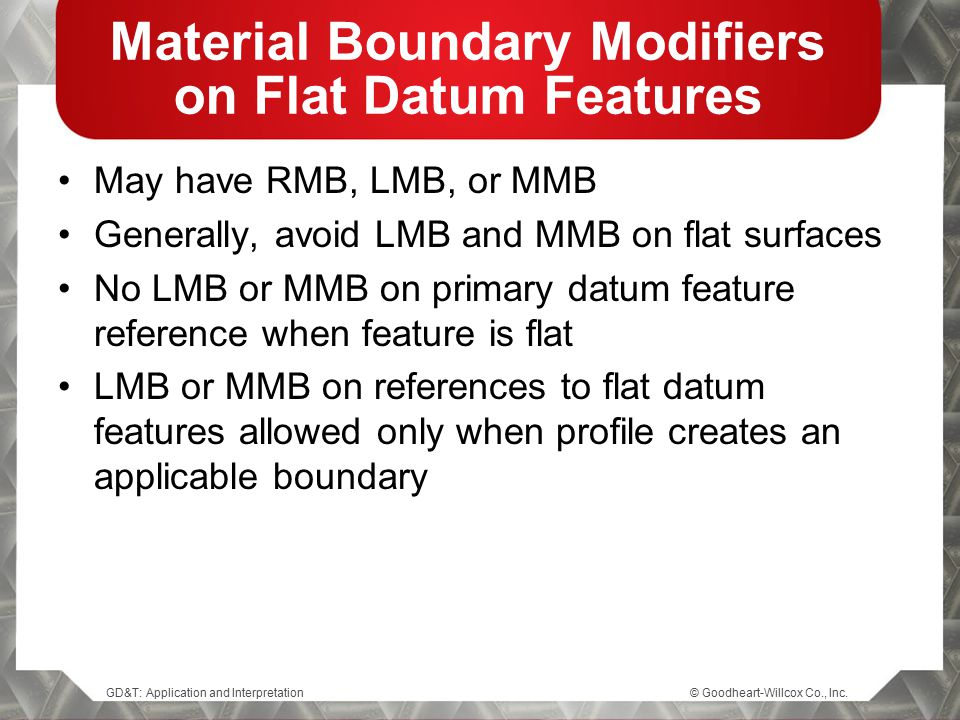 Material Boundary Modifiers on Flat Datum Features