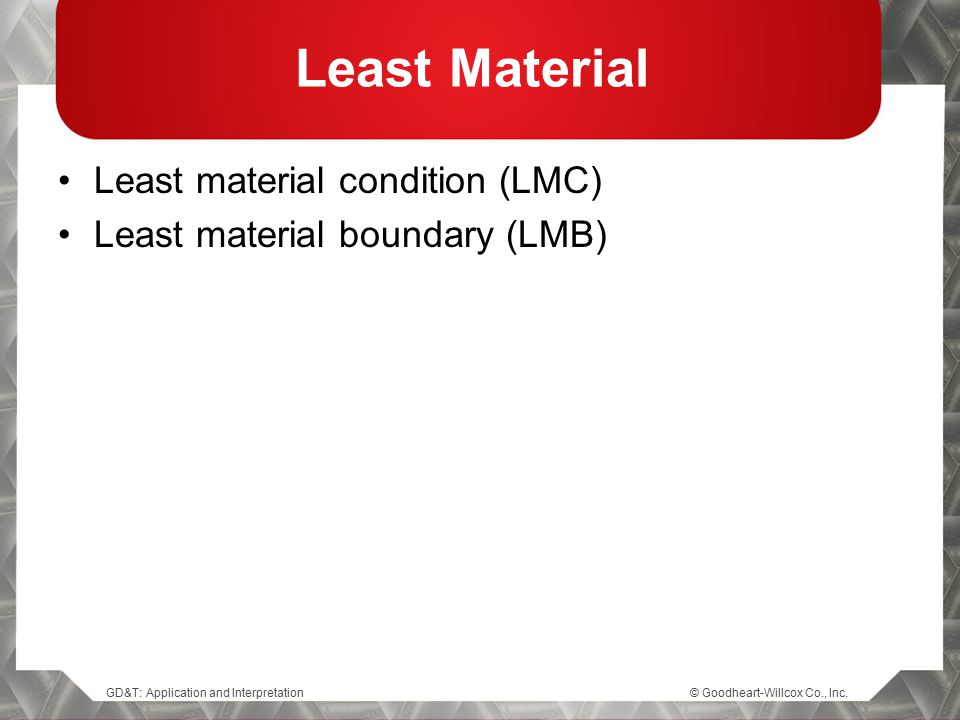 Least Material Least material condition (LMC)