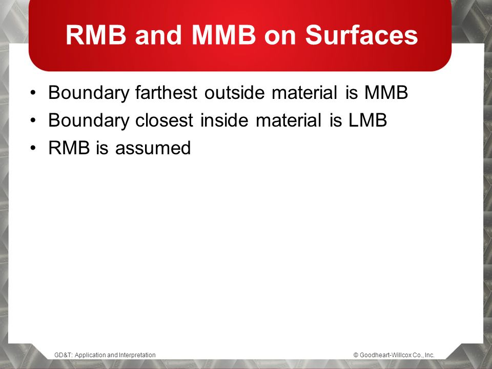 RMB and MMB on Surfaces Boundary farthest outside material is MMB