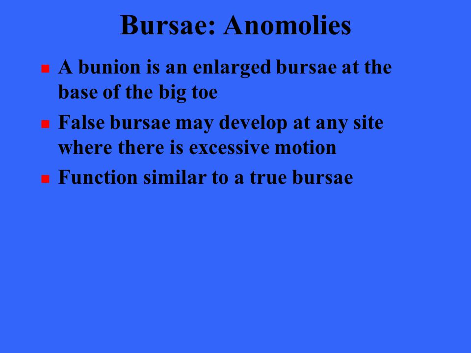 Bursae: Anomolies A bunion is an enlarged bursae at the base of the big toe. False bursae may develop at any site where there is excessive motion.