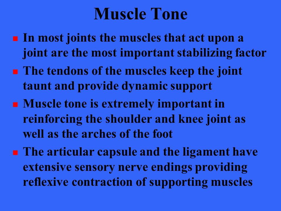 Muscle Tone In most joints the muscles that act upon a joint are the most important stabilizing factor.