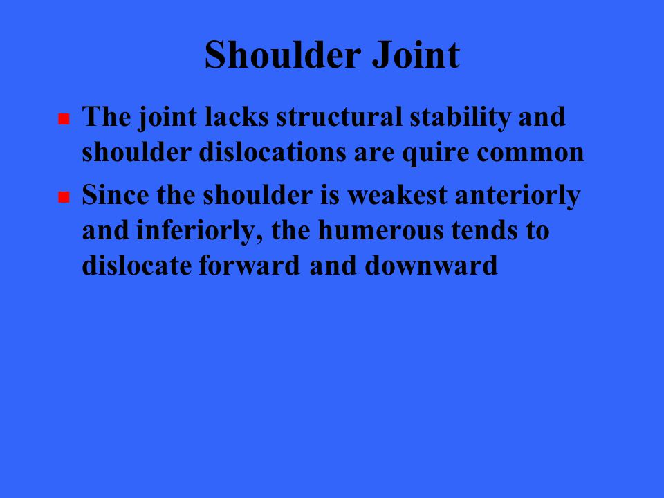 Shoulder Joint The joint lacks structural stability and shoulder dislocations are quire common.