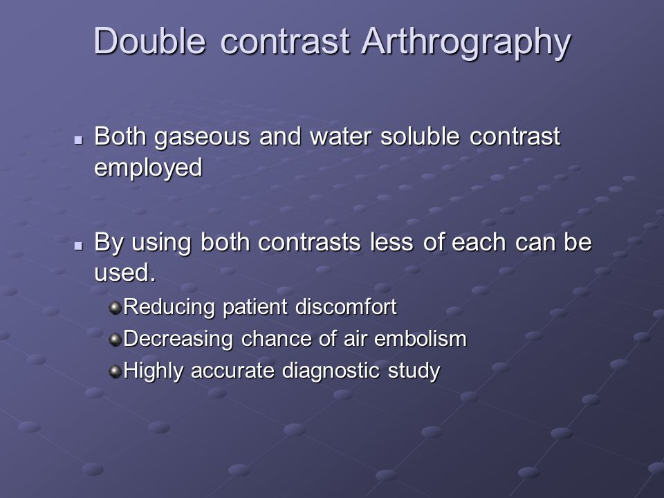 Double contrast Arthrography