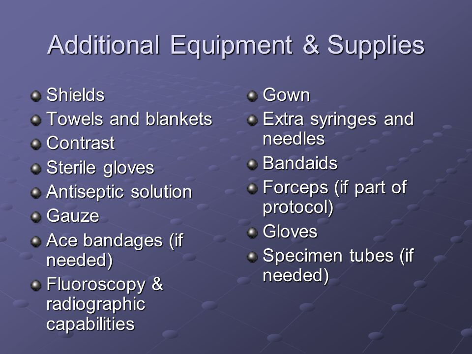 Additional Equipment & Supplies