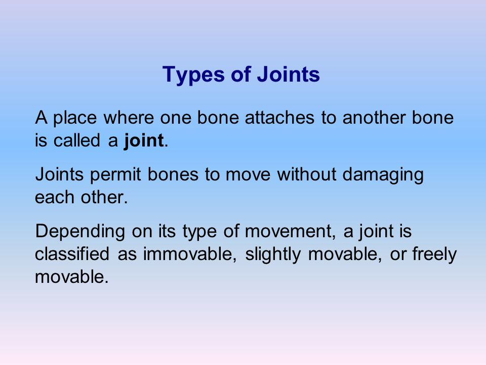 Types of Joints A place where one bone attaches to another bone is called a joint. Joints permit bones to move without damaging each other.