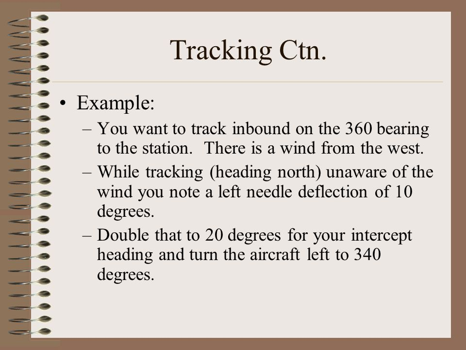 Tracking Ctn. Example: You want to track inbound on the 360 bearing to the station. There is a wind from the west.