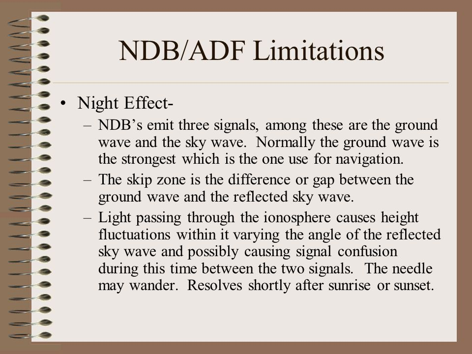 NDB/ADF Limitations Night Effect-