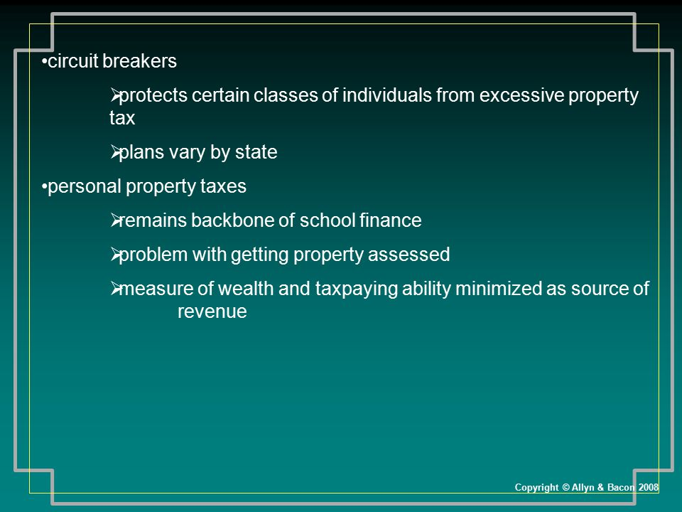 protects certain classes of individuals from excessive property tax