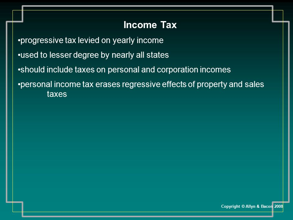 Income Tax progressive tax levied on yearly income