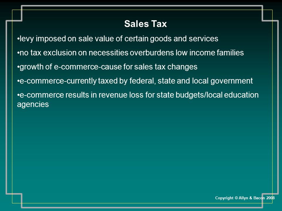 Sales Tax levy imposed on sale value of certain goods and services