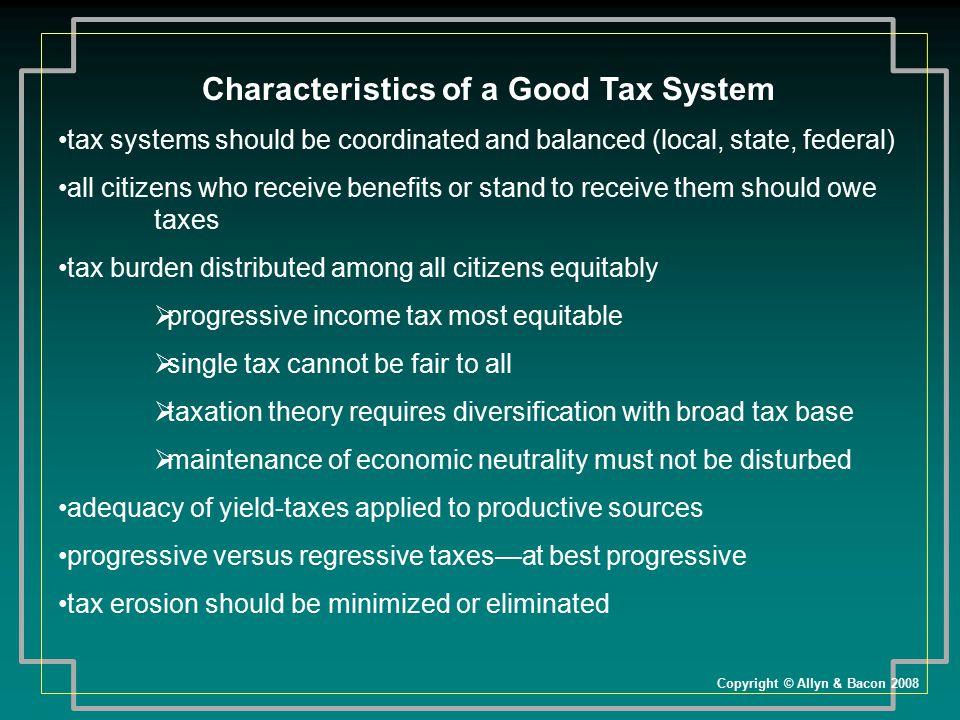 Characteristics of a Good Tax System