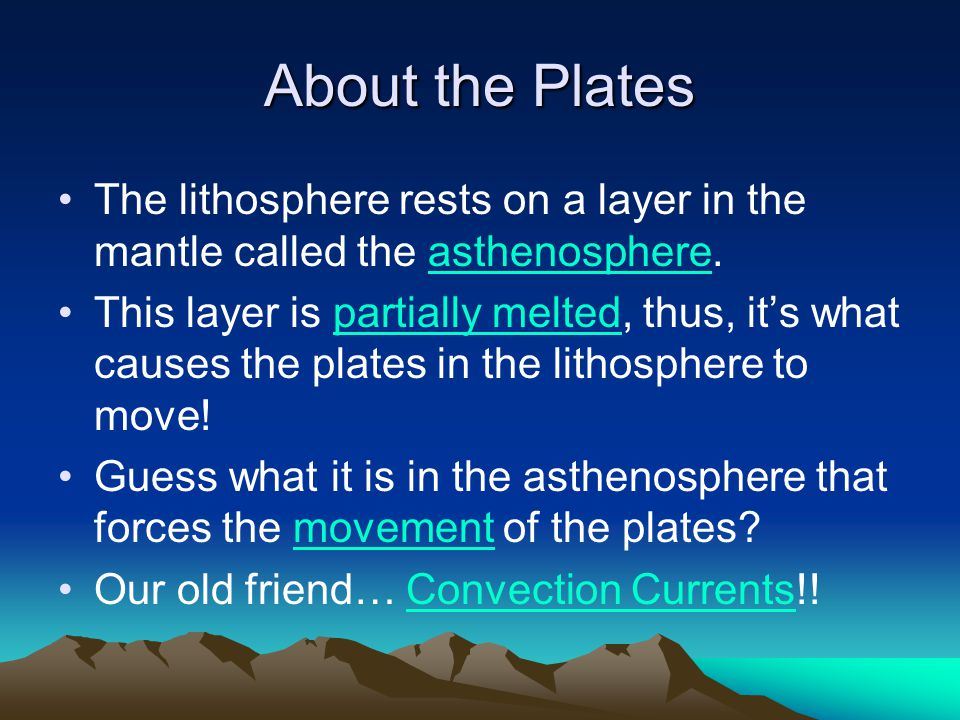 About the Plates The lithosphere rests on a layer in the mantle called the asthenosphere.