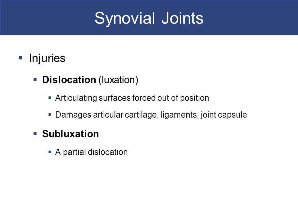 Synovial Joints Injuries Dislocation (luxation) Subluxation