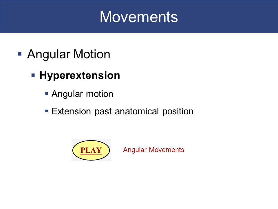 Movements Angular Motion Hyperextension Angular motion