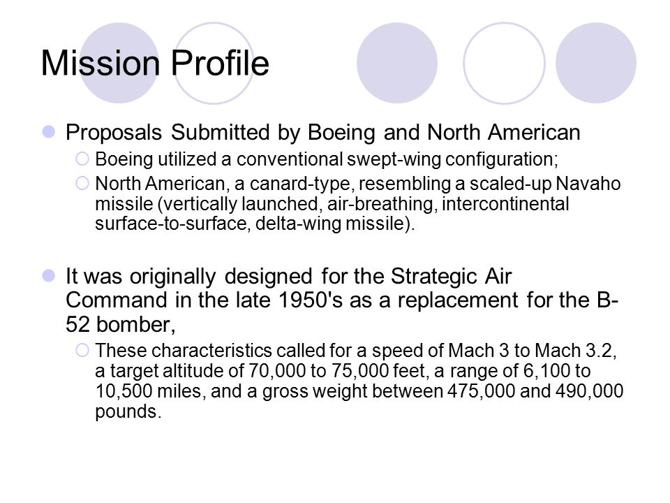Mission Profile Proposals Submitted by Boeing and North American