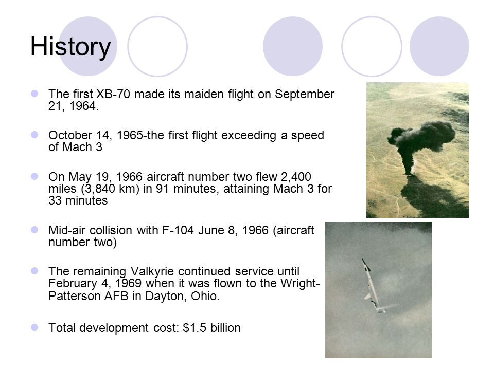 History The first XB-70 made its maiden flight on September 21, 1964.