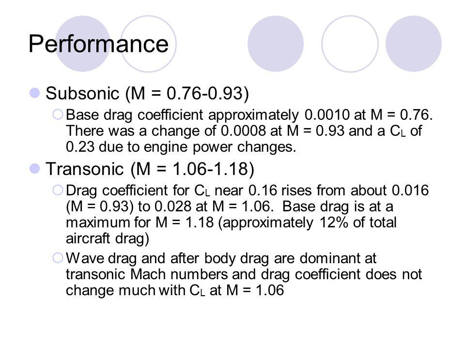 Performance Subsonic (M = 0.76-0.93) Transonic (M = 1.06-1.18)