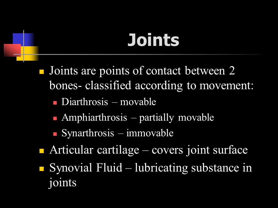 Joints Joints are points of contact between 2 bones- classified according to movement: Diarthrosis – movable.