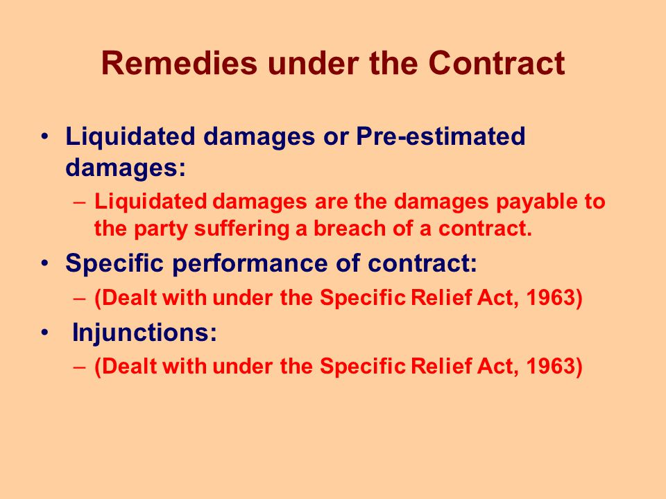 Remedies under the Contract