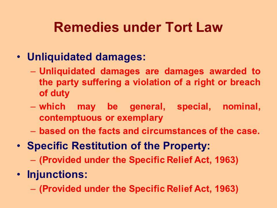 Remedies under Tort Law