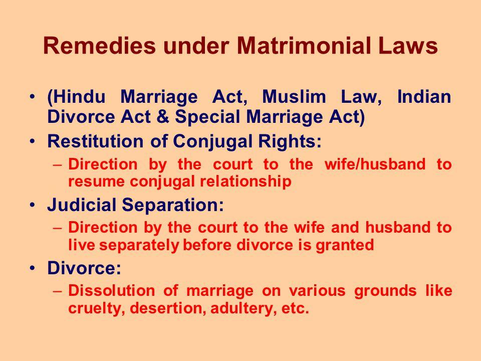 Remedies under Matrimonial Laws