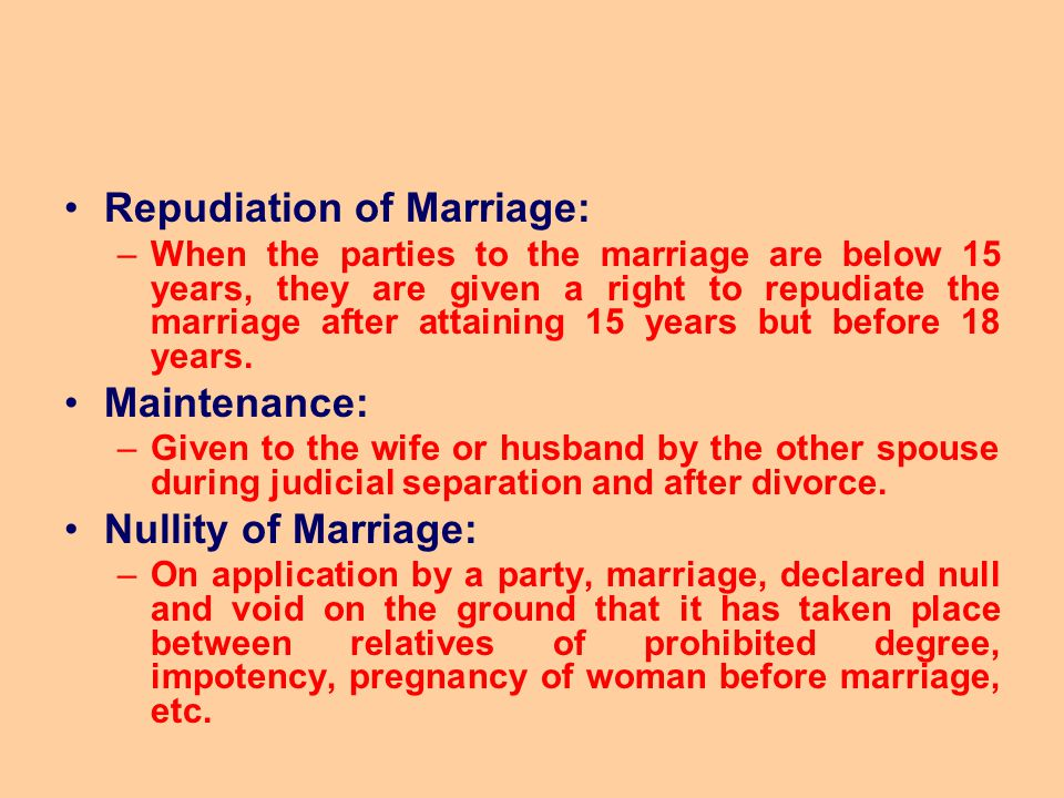 Repudiation of Marriage: